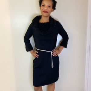 Spense balck dress with fur collar and sleeves